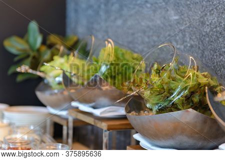 Fresh Vegetables Salad In Glass Bowl On Ice Of Breakfast Buffet In The Catering Buffet Food At Hotel