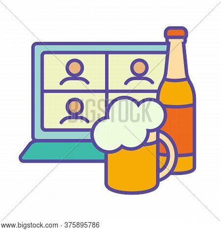 Friends Online Foam Party Teleconference Network With A Glass Cup Of Beer And A Bottle Of Foamy. The