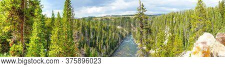 Panorama Showing Yellowstone River Flowing Northward Through Yellowstone National Park