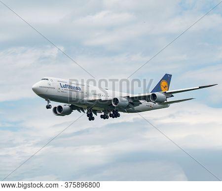 Lufthansa Boeing 747-8 Arriving In Frankfurt, Germany On June 27th