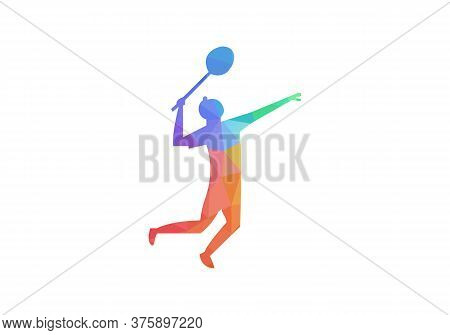 Sportsman Playing Badminton With Racket And Shuttlecock, Black Silhouette, Vector Illustration