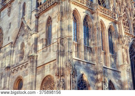 Medieval Roman Catholic Cathedral In Vienna . Place Of Worship With An Ornate Spire In Austria . St.