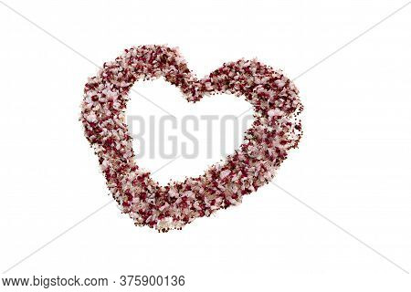 Heart Made Of Dried Rose Petals On A White Background