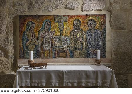 Bethlehem, Palestine, January 28, 2020: Caves Under The Basilica Of The Nativity In Bethlehem. Simpl
