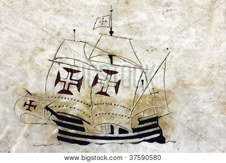 Detail of a caravel at the wind rose in marble near the Monument to the portuguese sea discoveries a