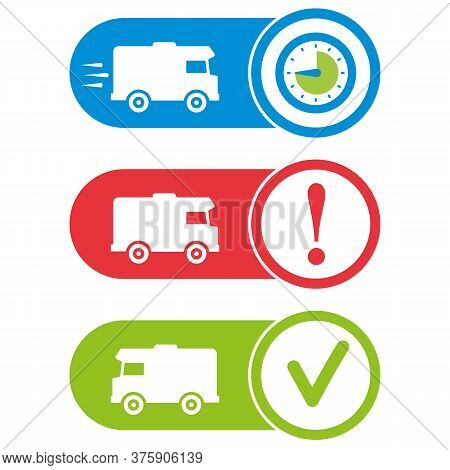 Delivery Status Icons. Delivering, Problem Indicator, Delivered. Shipping Tracking Symbols.