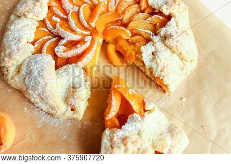 Apricot Pie. Apricot Pizza, Delicious And Sweet. Homemade Fruit Pie - Galette Made With Fresh Organi