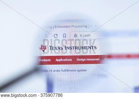 Moscow, Russia - 1 June 2020: Texas Instruments Website With Logo , Illustrative Editorial.
