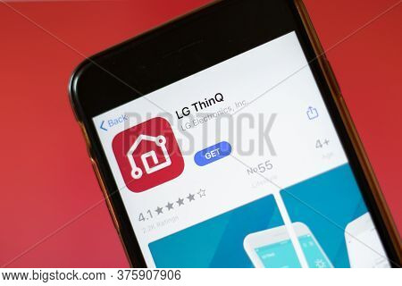 Moscow, Russia - 1 June 2020: Lg Thinq App Logo On Smartphone, Illustrative Editorial.