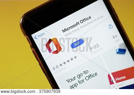 Moscow, Russia - 1 June 2020: Microsoft Office App Logo On Smartphone, Illustrative Editorial.