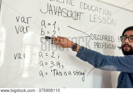 Basics Of Programming. Professional Male Teacher Wearing Eyeglasses Pointing At Whiteboard, Giving J