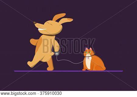 A Dog Walks A Cat That Looks Astonishment. Cartoon Illustration For Children's Book, Veterinary Clin