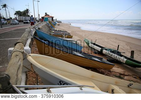 Salvador, Bahia / Brazil - November 5, 2019: Boats Are Seen Docked Near The Fisherman\'s Colony In T