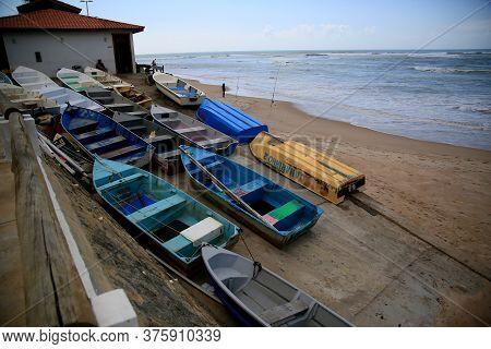 Salvador, Bahia / Brazil - November 5, 2019: Boats Are Seen Docked Near The Fisherman's Colony In Th