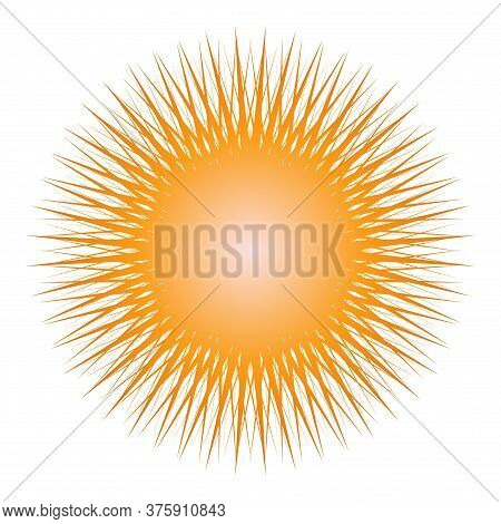 Vector Isolated Illustration Of The Sun With A Large Number Of Thin Orange Rays. Gradient Fill. An I
