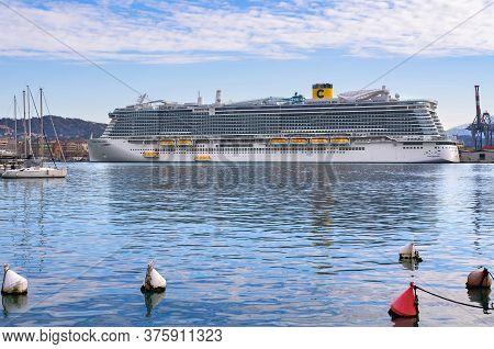La Spezia, Italy – January 17, 2020: Costa Smeralda in the port of La Spezia