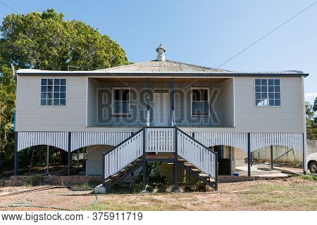 Old Queenslander Style House Being Renovated With New Stairs, Walls And Windows