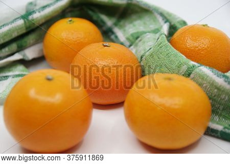 Tangerine Or Mandarin. Mandarin Isolated On White Background.