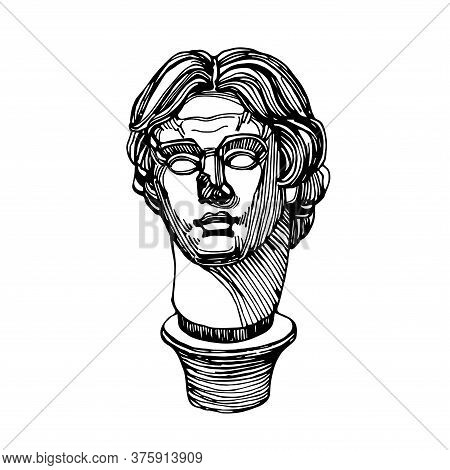 Head Of Alexander The Great, King Of Macedonia, Persia And Egypt, Ancient Greek Sculpture By Lysippu