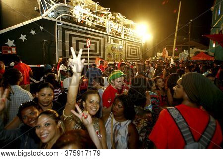 Salvador, Bahia / Brazil - October 5, 2014: Workers Party - Pt - Militants Celebrate In Rio Vermelho