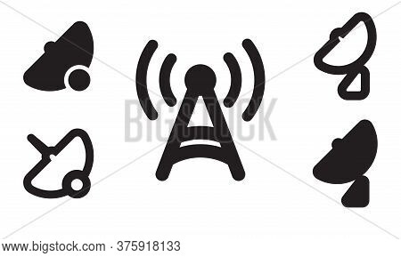 Set Of Signal Icons.radio Signals Waves And Light Rays, Radar, Wifi, Antenna And Satellite Signal Sy