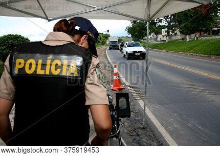 Eunapolis, Bahia / Brazil - December 28, 2007: Federal Highway Police Officer - Prf - Seen Operating