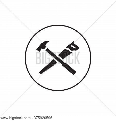 Handsaw Hummer Circle Lines Icon Vector On White Background