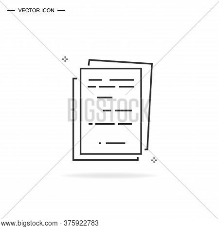 Files Icon. Stack Of Invoice Or Invoice Documents. Simple Line Vector Illustration Isolated.