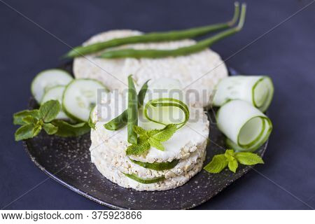 Healthy Food. Rice Sandwich With Cucumber And Green Beans. Rice Cakes With Cream Cheese, Cucumber An