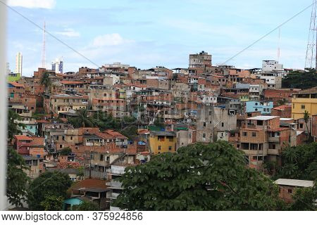 Salvador, Bahia / Brazil - April 17, 2019: View Of Houses In The Neighborhood Of The Federation In T