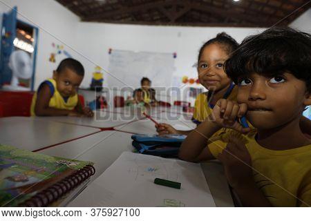 Alagoinhas, Bahia / Brazil - July 3, 2019: Students Are Seen At Creche Escola Municipal Rosario Cari