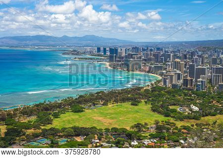Aerial View Of Honolulu In Oahu, Hawaii, Us
