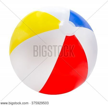 Beach Ball Isolated On White Background With Red, Yellow, Blue And White.with Clipping Path