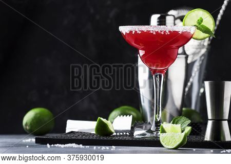 Watermelon Margarita, Alcoholic Cocktail With Silver Tequila, Lime Juice, Mint, Watermelon And Crush