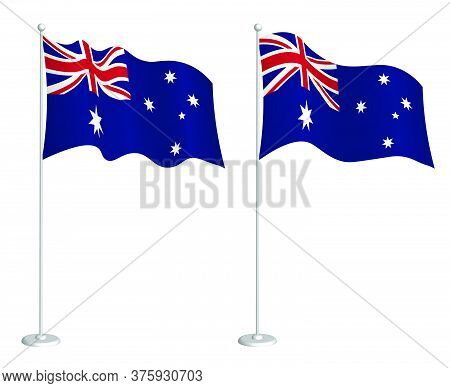 Flag Of Australia On Flagpole Waving In The Wind. Holiday Design Element. Checkpoint For Map Symbols