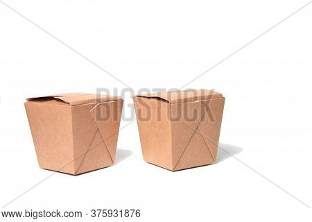 Two Wok Boxes Isolated On White Background. Image Contains Copy Space