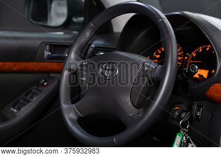Novosibirsk/ Russia - June 10 2020: Toyota Avensis, Steering Wheel, Shift Lever, Multimedia  Systeme