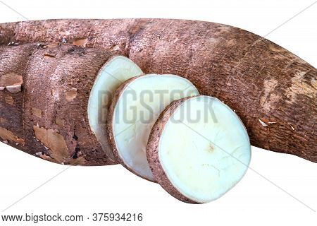 Cassava Tubers And Sliced Isolated On White, Pile Cassava Manioc In Top View, Yucca Root For Flour P