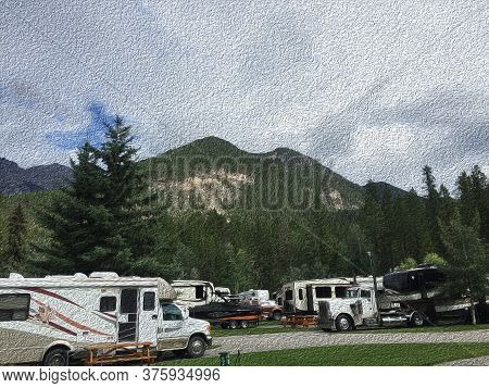 No People In Outdoor Rv Camping Of Multiple Rvs Parked In Family Campground. Canadian Mountains On G