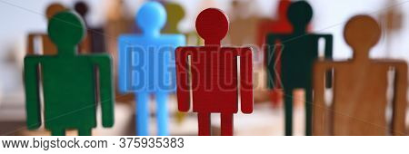Colored Wooden Figures Business Men Suits On Bars. Employee Readiness For Changes In Organization. M