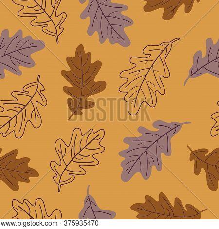 Vector Seamless Pattern Of Oak Leaves. Oak Leaf Seamless Pattern On A Orange Background.