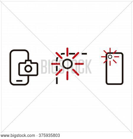 Set Of Front, Shot And Camera Phone Multi-cameras Icons. Editable Line Vector.