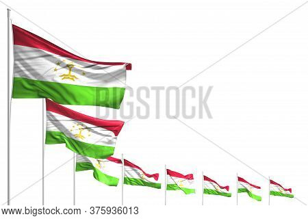Wonderful Any Feast Flag 3d Illustration\\n - Many Tajikistan Flags Placed Diagonal Isolated On Whit