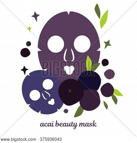 Illustration With Beauty Masks For Face Skin. Skin Care Masks Based On Acai Berries. Natural Cosmeti