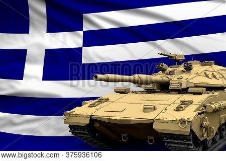 Heavy Tank With Fictional Design On Greece Flag Background - Modern Tank Army Forces Concept, Milita