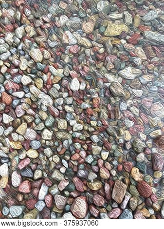 Van Gogh Style Image Of Multicolored Stones, Seamless Background, Abstract Pattern, Digitally Create