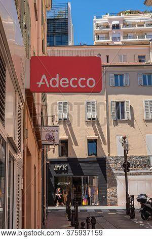 Monte Carlo, Monaco - July 4, 2020: Adecco Temporary Work Agency In Monte Carlo
