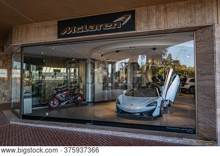 Monte Carlo, Monaco - July 4, 2020: The Retailer Of Mclaren Super Sport Cars