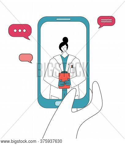 Smartphone Screen With Female Doctor On Chat In Messenger. Online Consultation. Online Medical Advis