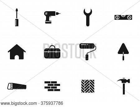 Construction Glyph Vector Icons Isolated On White. Construction Icon Set For Web Design, Mobile App,